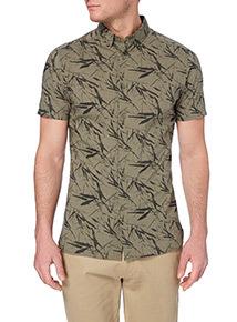 Khaki Leaf Pattern Shirt