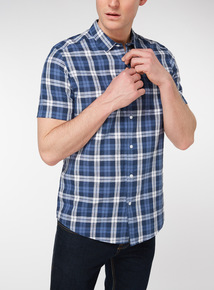 Navy Check Print Regular Fit Linen Rich Shirt