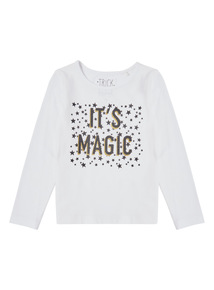 White Halloween Magic Glitter Tee (4-14 years)