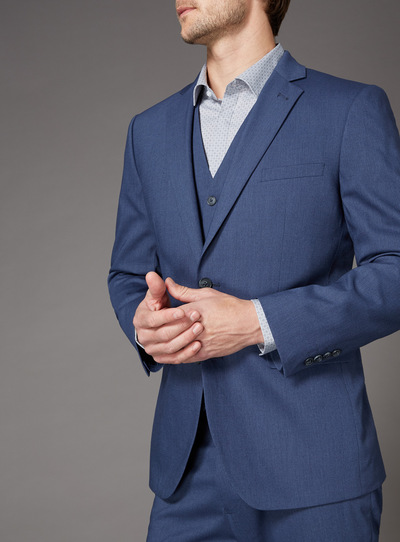 Blue Textured Tailored Fit Stretch Suit Jacket