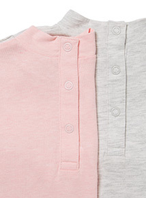 2 Pack Grey and Pink Ruffle Tops (0-24 months)