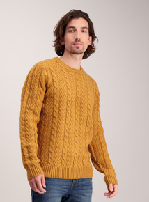 Ochre Yellow Cable Knit Crew Neck Jumper