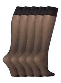 Black Lycra 15 Denier Knee Highs 5 Pack