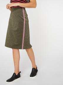 Gold Striped Trim Pencil Skirt