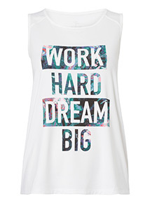 White 'Work Hard' Slogan Vest