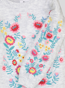 Grey Floral Embroidered Jumper (3-14 years)