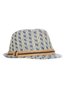 Multicoloured Natural Trilby Hat