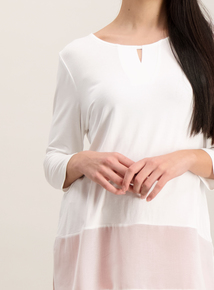 Cream Half Sleeve Woven Hem Top