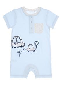 Boys Blue Car Romper (0 - 12 months)