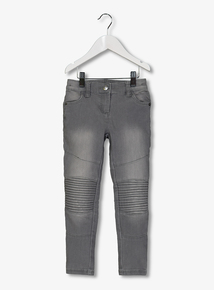 Grey Faded Denim Skinny Biker Jean (3-14 years)