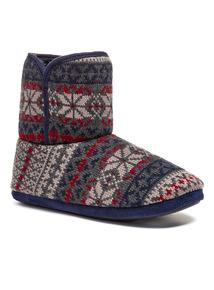 FairIsle Knitted Slipper Boot