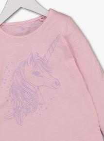 Pink Unicorn Print Long-Sleeved Top (3-14 Years)
