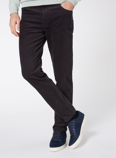 Black Slim Fit Cords With Stretch