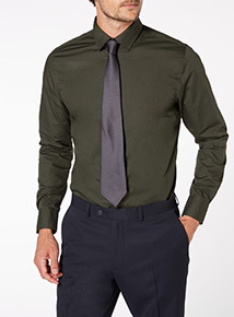 Khaki Shirt and Grey Tie Set