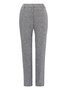 Black Herringbone Linen Trousers