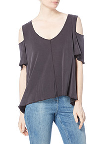Grey Washed Cold Shoulder Top
