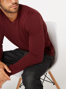 Burgundy V Neck Jumper