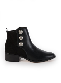 Black Military Button Chelsea Ankle Boots
