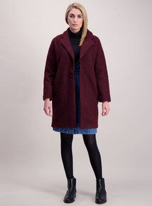 Burgundy Bouclé Crombie Coatigan