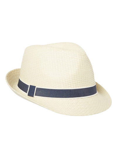Light Stone Trilby with Chambray Band
