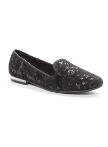 Black Embossed Lace Slipper Cut Shoes