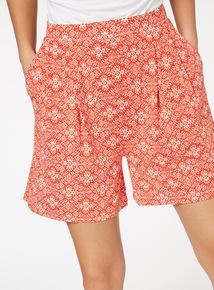 Orange Bohemian Print Shorts
