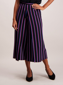Black Striped Wrap Leg Culottes