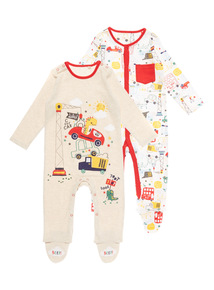 Boys Dinosaur Sleepsuit 2 Pack (0 - 24 months)