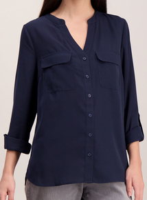 Online Exclusive Navy Roll Sleeve Blouse