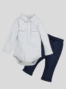 Grey and Navy 2 Piece Body and Woven Jogger Set (0 - 24 months)