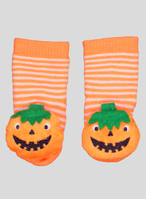 Halloween Orange Pumpkin Rattle Slipper Socks (0 - 24 Months)