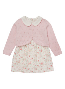 Pink Floral Dress & Cardigan Set (0-24 Months)