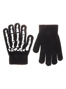 Black Halloween Skeleton Gloves (3 - 14 years)