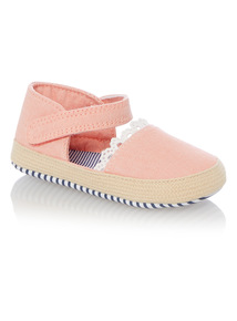Girls Pink Espadrille Shoes (0 - 18 months)