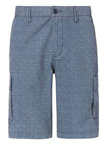 Blue Dot Print Cargo Shorts