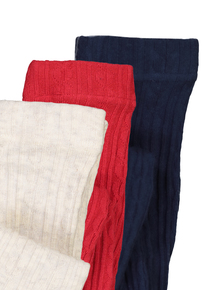 Red, Navy Blue & Cream Cotton Rich Cable Knit Tights 3 Pack (18 months - 10 years)