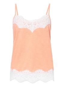 Orange Eyelash Lace Camisole