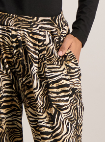 Multicoloured Animal Print Tapered Trousers