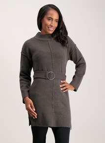 Charcoal Grey Buckle Front Tunic