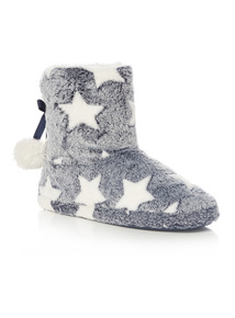 Navy Star Towelling Boot