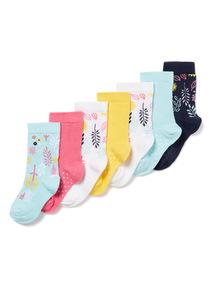 7 Pack Multicoloured Flower Pattern Socks