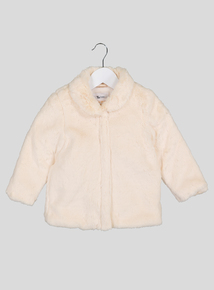 Online Exclusive Cream Faux Fur Coat (9 Months - 6 Years)