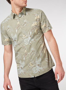 Khaki Slim Fit Leaf Printed Havana Shirt