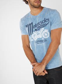 Blue Acid Wash 'Motorbike' Print T-Shirt