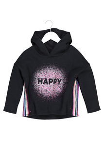 Black 'Happy' Sparkle Hoodie (3 - 14 Years)