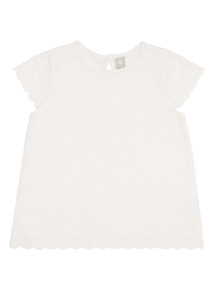White Floral Broderie Top (9 months - 6 years)