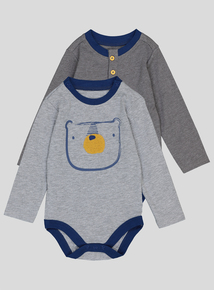 Grey Bear Print Bodysuits 2 Pack (0-24 months)