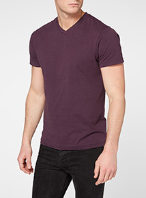 Purple Basic V-neck T-shirt