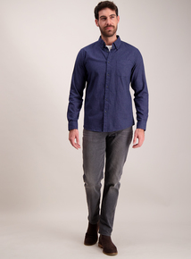 Navy Window Pane Check Regular Fit Shirt