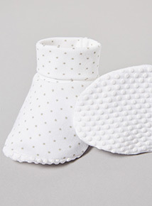 2 Pack White Printed Booties (Newborn -12 months)